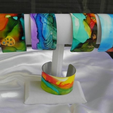 Group of painted bracelet cuffs