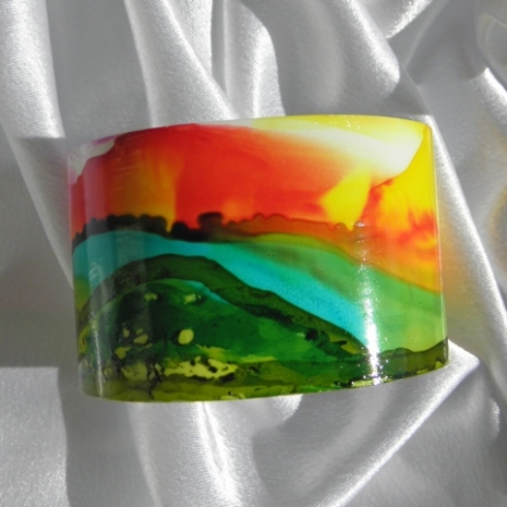 Cuff bracelet painted landscape alcohol ink jewelry # 34 center view