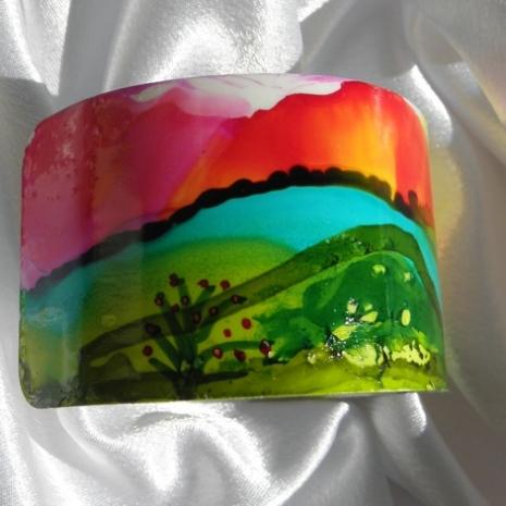 Cuff bracelet painted landscape alcohol ink jewelry # 34 left side