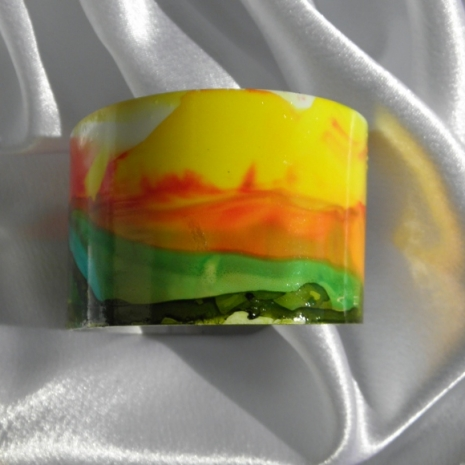 Cuff bracelet painted landscape alcohol ink jewelry # 34 right side
