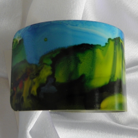 Bracelet cuff painted with alcohol inks landscape design  #59