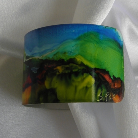 Bracelet cuff painted with alcohol inks landscape right side # 59