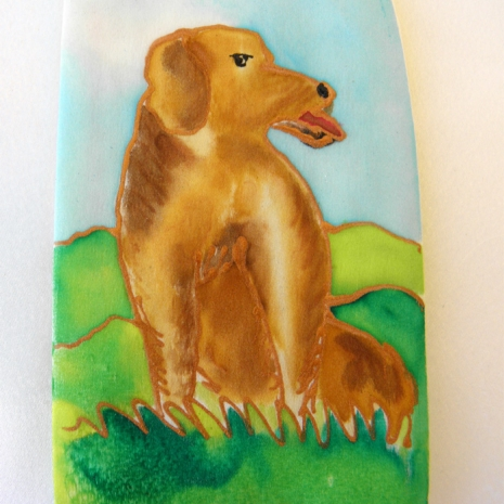 Painted Silk Eyeglass Case with Large Brown Dog closeup
