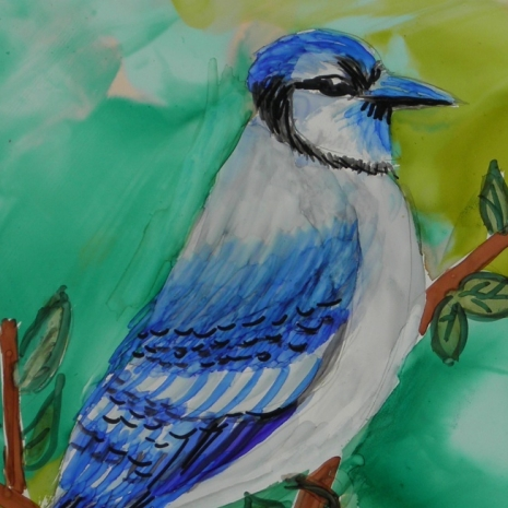 alcohol ink original painting Blue Jay 5x7