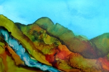 Alcohol Ink Painting on Yupo paper 5x7 landscape design # 119