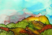 Alcohol Ink Painting on Yupo paper 5x7 landscape design