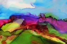 Alcohol Ink Painting on Yupo paper 5x7 abstract landscape design