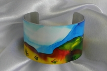Metal bracelet cuff alcohol ink painted green hills, blue sky