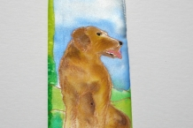 eyeglass case painted silk brown dog on grass