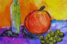 Alcohol Ink Painting on Yupo paper 5x7 still life  design  # 180
