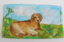 Painted silk cosmetic bag with large brown dog