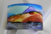 Bracelet cuff painted with alcohol inks landscape design