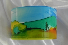 Bracelet cuff painted with alcohol inks landscape design #46