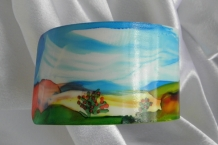 Bracelet cuff painted with alcohol inks landscape design #47