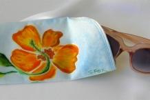 Hand painted silk eyeglass case with orange hibiscus flower