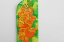 Painted Silk Eyeglass Case with Gladiolas yellow and orange
