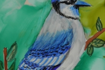 alcohol ink original painting Blue Jay 5x7