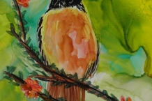 Alcohol Ink Original Painting Robin Bird 5x7