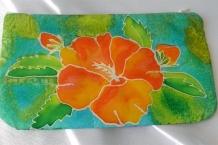 Cosmetic Bag Hand Painted Silk Hibiscus Flower