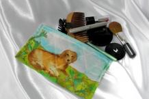 Eyeglass Case 100% Hand Painted Silk Cute Tan Dog