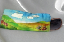 Eyeglass Case 100% Silk Hand Painted Landscape