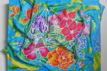 Summery Flowers Painted on Silk