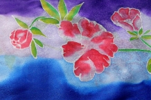 Hand Painted Silk Scarf with Pink Flowers on Blue and Purple