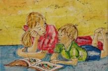 Wax Batik Mom and Boy Reading a Book